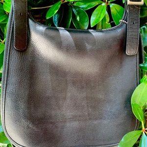 Coach black leather flap shoulder bag